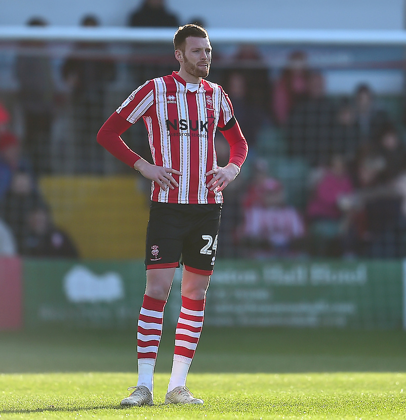 Lincoln City's Cian Bolger<br /> <br /> Photographer Andrew Vaughan/CameraSport<br /> <br /> The EFL Sky Bet League Two - Lincoln City v Northampton Town - Saturday 9th February 2019 - Sincil Bank - Lincoln<br /> <br /> World Copyright © 2019 CameraSport. All rights reserved. 43 Linden Ave. Countesthorpe. Leicester. England. LE8 5PG - Tel: +44 (0) 116 277 4147 - admin@camerasport.com - www.camerasport.com