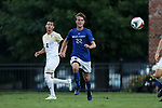 ELON, NC - SEPTEMBER 02: Presbyterian's Mathias Mikalsen (NOR). The Elon University Phoenix hosted the Presbyterian College Blue Hose on September 2, 2017 at Rudd Field in Elon, NC in a Division I college soccer game. Elon won the game 2-0.