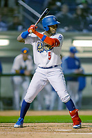 Rancho Cucamonga Quakes Cristian Santana (5) at bat against the Inland Empire 66ers at LoanMart Field on April 12, 2018 in Rancho Cucamonga, California. The 66ers defeated the Quakes 5-4.  (Donn Parris/Four Seam Images)