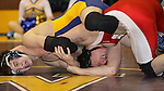 Watertown, SD.  Nathan Solum, Aberdeen Central, pressures the head of James Wilson, Rapid City Central in their 145lb match during 1st round action at the South Dakota State A Wrestling Tournament held in the Watertown Civic Arena on Feb. 27th. Photo by Mike Smith / MatShots for Inertia.