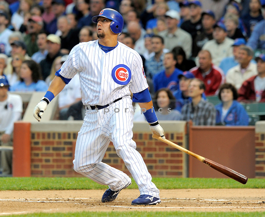 JAKE FOX, of the Chicago Cubs, in action during the Cubs game against the Milwaukee Brewers on July 2, 2009 at Wrigley Field in Chicago, IL.  The Cubs win 9-5.