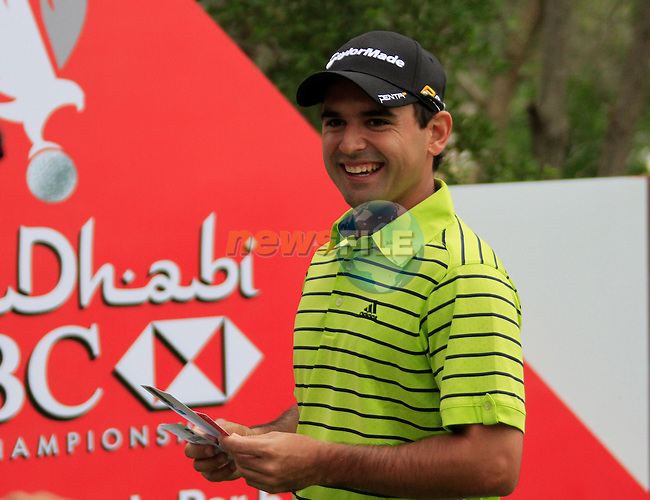 Fabrizio Zanotti waits to tee off on the 10th tee to start his round during Thusday Day 1 of the Abu Dhabi HSBC Golf Championship, 20th January 2011..(Picture Eoin Clarke/www.golffile.ie)