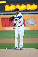 Yaisel Sierra (19) of the Rancho Cucamonga Quakes pitches against the High Desert Mavericks at LoanMart Field on April 30, 2016 in Rancho Cucamonga, California. Rancho Cucamonga defeated High Desert, 7-6. (Larry Goren/Four Seam Images)
