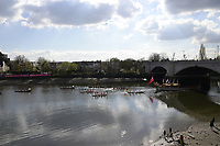 Putney/Mortlake, GREATER LONDON. United Kingdom. 2017 Women's and Men's University Boat Races, held over, The Championship Course, Putney to Mortlake on the River Thames., Royal Rowbarge Gloriana and a Flotilla of small Boats <br /> Sunday  02/04/2017, <br /> <br /> [Mandatory Credit; Intersport Images]