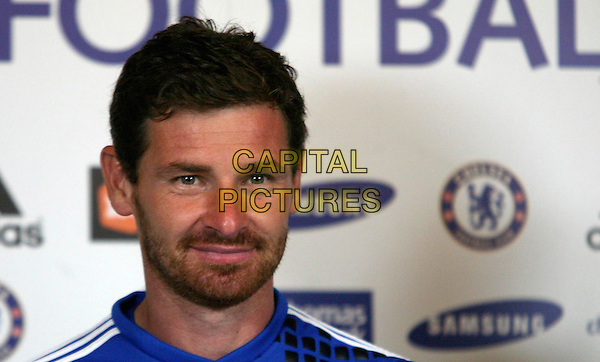 Andre Villas-Boas.Chelsea Football Club press conference to unveil new signings: Oriol Romeu & Romelu Lukaku with manager Andre Villas-Boas. London, England..August 23rd, 2011.headshot portrait sport blue stubble facial hair .CAP/DS.©Dudley Smith/Capital Pictures