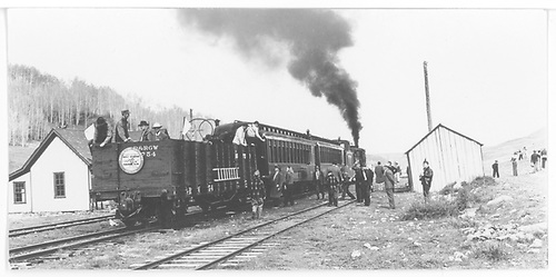 Rocky Mountain Railroad Club excursion pulled by RGS #20 at Peake, CO.<br /> RGS  Peake, CO  Taken by Maxwell, John W. - 5/30/1947