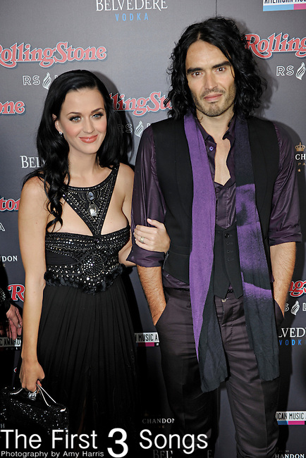Katy Perry and husband Russell Brand attend the 2010 American Music Awards VIP After Party hosted by Rolling Stone Magazine at the Rolling Stone Restaurant & Lounge in Los Angeles, California.