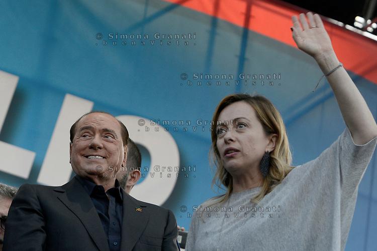 Roma, 19 Ottobre 2019<br /> Silvio Berlusconi e Giorgia Meloni.<br /> Orgoglio italiano, manifestazione della Lega e del centro destra a San Giovanni, contri il governo