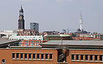Hamburg-Germany - May 04, 2013 -- View from the construction site of the complex Elbphilharmonie Concert Hall (Elbe Philharmonic Hall), towards the North with Michel / Michaelis Kirche / Church and Fernsehturm (Television, Boradcasting Tower) -- Photo: © HorstWagner.eu