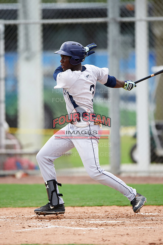 GCL Rays center fielder Jesus Sanchez (3) at bat during the first game of a doubleheader against the GCL Red Sox on August 9, 2016 at JetBlue Park in Fort Myers, Florida.  GCL Rays defeated GCL Red Sox 5-4.  (Mike Janes/Four Seam Images)