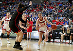 SIOUX FALLS, SD - MARCH 7: Ciara Duffy #24 of the South Dakota Coyotes drives to the basket against the Omaha Mavericks at the 2020 Summit League Basketball Championship in Sioux Falls, SD. (Photo by Dave Eggen/Inertia)
