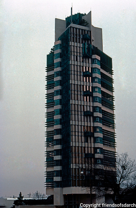F.L. Wright: Price Tower, Bartelsville, OK.  Photo '77.