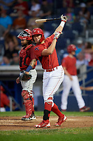 Williamsport Crosscutters designated hitter Alec Bohm (5) takes a practice swing as catcher Jason Rodriguez (9) waits during a game against the Mahoning Valley Scrappers on August 28, 2018 at BB&T Ballpark in Williamsport, Pennsylvania.  Williamsport defeated Mahoning Valley 8-0.  (Mike Janes/Four Seam Images)