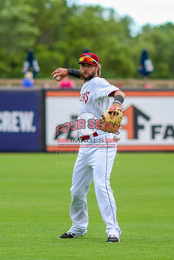 Wisconsin Timber Rattlers third baseman Weston Wilson (23) warms up prior to game one of a Midwest League doubleheader against the Kane County Cougars on June 23, 2017 at Fox Cities Stadium in Appleton, Wisconsin.  Kane County defeated Wisconsin 4-3. (Brad Krause/Four Seam Images)