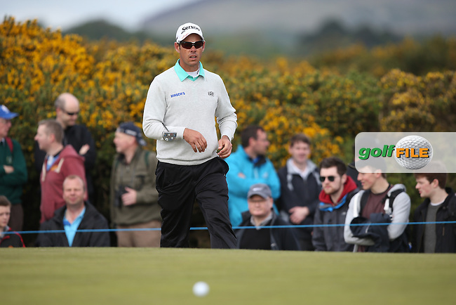 Jaco Van Zyl (RSA) chips onto the 8th green during Round Three of the 2015 Dubai Duty Free Irish Open Hosted by The Rory Foundation at Royal County Down Golf Club, Newcastle County Down, Northern Ireland. 30/05/2015. Picture David Lloyd | www.golffile.ie