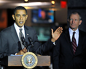 McLean, VA - October 6, 2009 -- United States President Barack Obama makes remarks as he visits the National Counterterrorism Center (NCTC) in McLean, VA on Tuesday, October 6, 2009. At right is Dennis Blair, Director of National Intelligence. .Credit: Ron Sachs / Pool via CNP