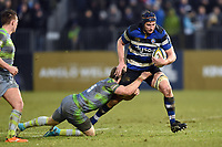 Paul Grant of Bath Rugby takes on the Newcastle Falcons defence. Anglo-Welsh Cup match, between Bath Rugby and Newcastle Falcons on January 27, 2018 at the Recreation Ground in Bath, England. Photo by: Patrick Khachfe / Onside Images
