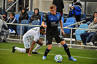 SAN JOSE, CA - MARCH 7: Jackson Yueill #14 of the San Jose Earthquakes gets past Kevin Molino #7 of Minnesota United during a game between Minnesota United FC and San Jose Earthquakes at Earthquakes Stadium on March 7, 2020 in San Jose, California.
