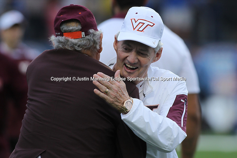 December 26, 2015: Virginia Tech head coach Frank Beamer during pregame of the Camping World Independence Bowl at Independence Stadium in Shreveport, LA. Justin Manning/ESW/CSM