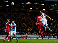 Blackburn Rovers' Derrick Williams (right) heads at goal under pressure from  Nottingham Forest's Tobias Figueiredo (2nd right) <br /> <br /> Photographer Andrew Kearns/CameraSport<br /> <br /> The EFL Sky Bet Championship - Blackburn Rovers v Nottingham Forest - Tuesday 1st October 2019  - Ewood Park - Blackburn<br /> <br /> World Copyright © 2019 CameraSport. All rights reserved. 43 Linden Ave. Countesthorpe. Leicester. England. LE8 5PG - Tel: +44 (0) 116 277 4147 - admin@camerasport.com - www.camerasport.com