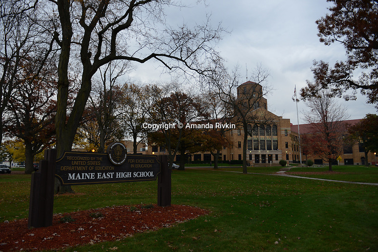 Maine East High School, attended by US Democratic Party Presidential candidate Hillary Clinton, in Park Ridge, Illinois on election day November 8, 2016.