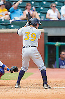 Kes Carter (39) of the Montgomery Biscuits at bat against the Chattanooga Lookouts at AT&T Field on July 23, 2014 in Chattanooga, Tennessee.  The Lookouts defeated the Biscuits 6-5. (Brian Westerholt/Four Seam Images)