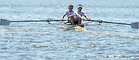 Brandenburg. GERMANY.<br /> GBR LM2-, Bow Joel CASSELLS and Sam SCRIMGEOUR, at the start of their heat. 2016 European Rowing Championships at the Regattastrecke Beetzsee<br /> <br /> Friday  06/05/2016<br /> <br /> [Mandatory Credit; Peter SPURRIER/Intersport-images]