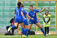 Cristina Girelli celebrates with team mates after scoring the goal of 1-0<br /> Palermo 08-10-2019 Stadio Renzo Barbera <br /> UEFA Women's European Championship 2021 qualifier group B match between Italia and Bosnia-Herzegovina.<br /> Photo Carmelo Imbesi / Insidefoto