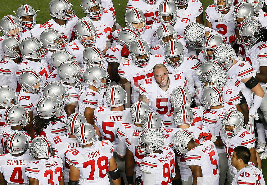 Ohio State Buckeyes offensive lineman Joel Hale (51) gets the team hyped before the college football game between the Rutgers Scarlet Knights and the Ohio State Buckeyes at High Point Solutions Stadium in Piscataway, NJ, Saturday night, October 24, 2015. As of half time the Ohio State Buckeyes led the Rutgers Scarlet Knights 21 - 0.(The Columbus Dispatch / Eamon Queeney)