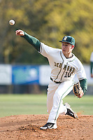 Redmond High School pitcher Dylan Davis delivers a pitch against Newport High School during at game a Hartman Park on April 30, 2011 in Redmond, Washington.  Photo by Ronnie Allen / Four Seam Images.