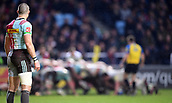 3rd December 2017, Twickenham Stoop, London, England; Aviva Premiership rugby, Harlequins versus Saracens; Mike Brown of Harlequins watches the scrum