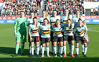 20171024 - PENAFIEL , PORTUGAL :  Belgian team poses for the teampicture with Justien Odeurs , Elke Van Gorp , Julie Biesmans , Laura De Neve , Tine De Caigny , Aline Zeler , Davinia Vanmechelen , Davina Philtjens , Janice Cayman , Tessa Wullaert and Laure Deloose during a women's soccer game between Portugal and the Belgian Red Flames , on tuesday 24 October 2017 at Estádio Municipal 25 de Abril in Penafiel. This is the third game for the  Red Flames during the Worldcup 2019 France qualification in group 6. PHOTO SPORTPIX.BE | DAVID CATRY