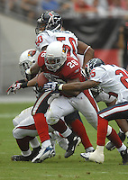 Aug 18, 2007; Glendale, AZ, USA; Arizona Cardinals running back J.J. Arrington (28) rushes the ball against the Houston Texans at University of Phoenix Stadium. Mandatory Credit: Mark J. Rebilas-US PRESSWIRE Copyright © 2007 Mark J. Rebilas
