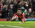 Rhys Webb of Wales scores the first try - RBS 6Nations 2015 - Wales  vs England - Millennium Stadium - Cardiff - Wales - 6th February 2015 - Picture Simon Bellis/Sportimage