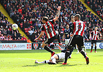 Billy Sharp of Sheffield Utd side foots towards goal during the championship match at the Bramall Lane Stadium, Sheffield. Picture date 14th April 2018. Picture credit should read: Simon Bellis/Sportimage