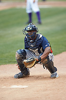 Buies Creek Astros catcher Chuckie Robinson (20) warms up a pitcher in the bullpen during the game against the Winston-Salem Dash at BB&T Ballpark on May 5, 2018 in Winston-Salem, North Carolina. The Dash defeated the Astros 6-2. (Brian Westerholt/Four Seam Images)