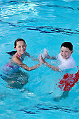 Stock photos of children in a pool