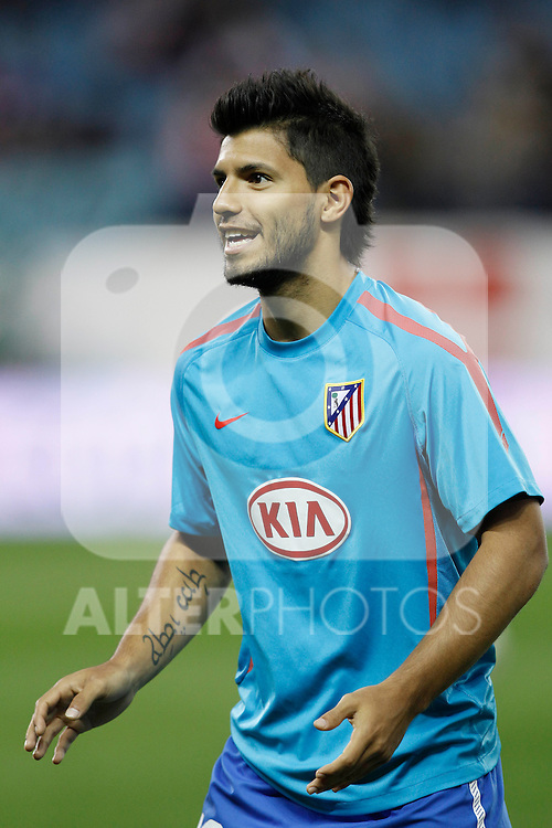 Atletico de Madrid's Sergipo Kun Aguero during la Liga match, september 26, 2010...Photo: Cesar Cebolla / ALFAQUI