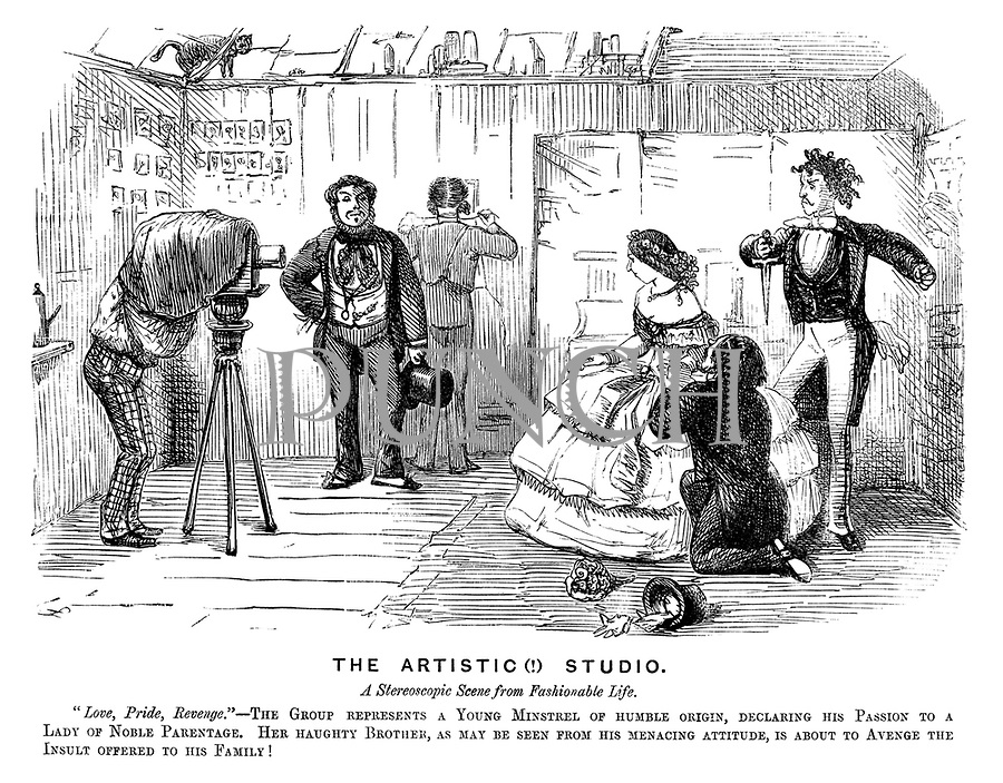 """The Artistic (!) Studio. A stereoscopic scene from fashionable life. """"Love, Pride, Revenge."""" - The group represents a young minstrel of humble origin, declaring his passion to a lady of noble parentage. Her haughty brother, as may be seen from his menacing attitude, is about to avenge the insult offered to his family!"""