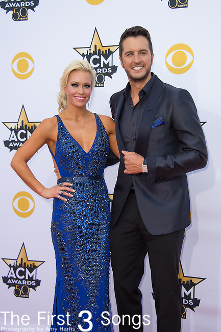 Luke Bryan and Caroline Boyer attend the 50th Academy Of Country Music Awards at AT&T Stadium on April 19, 2015 in Arlington, Texas.