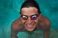 HOWICK, SOUTH AFRICA APRIL 5: Sixteen-year-old swimmer Michael Andrew trains in a pool on April 5, 2015 in Howick, Natal, South Africa. Michael has broken many records already and he is seen as the new Michael Phelps. He turned pro at 14 after signing his first endorsement deal. His father trains Michael and he grew up in the US. His parents emigrated from South Africa and he spent some time in the country in April 2015 to visit his grandparents. (Photo by: Per-Anders Pettersson)
