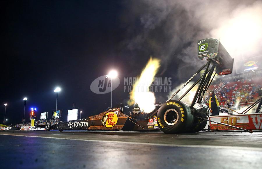 Jun 19, 2015; Bristol, TN, USA; NHRA top fuel driver Shawn Langdon during qualifying for the Thunder Valley Nationals at Bristol Dragway. Mandatory Credit: Mark J. Rebilas-