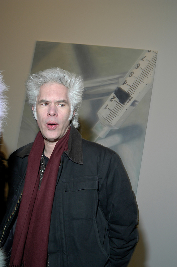 director Jim Jarmusch at Damien Hirst's opening at the Gagosian Gallery in NYC, 2005