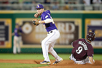 LSU Tigers second baseman JaCoby Jones #23 turns a double-play as Mississippi State baserunner Tyler Fullerton #9 slides into second base during the NCAA baseball game on March 17, 2012 at Alex Box Stadium in Baton Rouge, Louisiana. The 10th-ranked LSU Tigers beat #21 Mississippi State, 4-3. (Andrew Woolley / Four Seam Images).