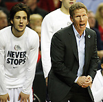 Gonzaga Head Coach Mark Few sends in a play from the sidelines during their game against Iowa during the 2015 NCAA Division I Men's Basketball Championship's March 22, 2015 at the Key Arena in Seattle, Washington. #2 Gonzaga beat #7 Iowa 87-68 to advance to the Sweet 16. ©2015. Jim Bryant Photo. ALL RIGHTS RESERVED.