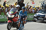 "Nairo Quintana (COL) Movistar Team climbs towards the finish line in 17th place atop the Col du Tourmalet 3'24"" down at the end of Stage 14 of the 2019 Tour de France running 117.5km from Tarbes to Tourmalet Bareges, France. 20th July 2019.<br /> Picture: Colin Flockton 