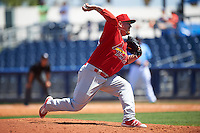 Palm Beach Cardinals relief pitcher Kyle Grana (54) delivers a pitch during a game against the Charlotte Stone Crabs on April 10, 2016 at Charlotte Sports Park in Port Charlotte, Florida.  Palm Beach defeated Charlotte 4-1.  (Mike Janes/Four Seam Images)