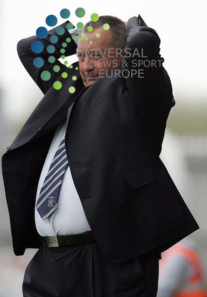 Kimarnock FC manager Jimmy Calderwood after his team drops a goal during the SPL St Mirren v Kilmarnock game at St Mirren FC..24 April 2010 Picture: Universal News And Sport (Europe)...