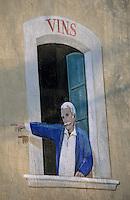 Europe/France/Provence-Alpes-Côte d'Azur/84/Vaucluse/Saint-Saturnin-d'Apt: Mur peint servant d'enseigne à un marchand de vin