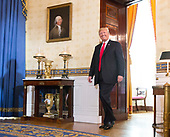 "United States President Donald J. Trump arrives to make a statement on health care with ""victims of Obamacare"" at The White House in Washington, DC, July 24, 2017. <br /> Credit: Chris Kleponis / CNP"